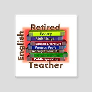Retired English Teacher Book Stack Square Stic