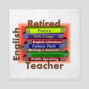 Retired English Teacher Book Stack Queen Duvet
