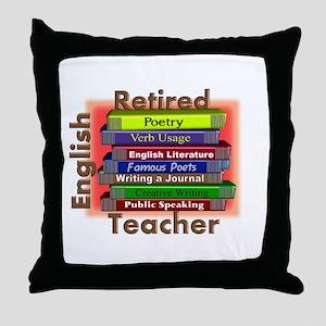 Retired English Teacher Book Stack Throw Pillo