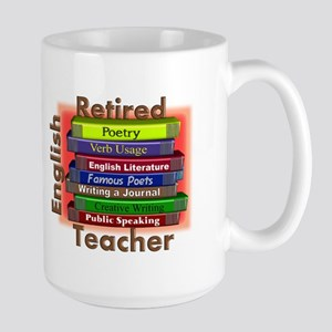 Retired English Teacher Book Stack Large Mug