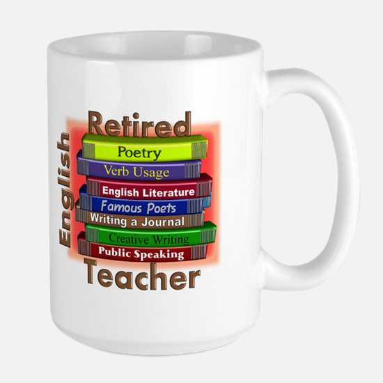 Retired English Teacher Book Stack.PNG Large Mug