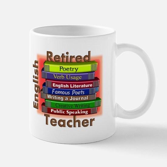 Retired English Teacher Book Stack.PNG Mug