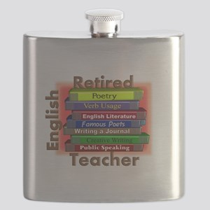 Retired English Teacher Book Stack Flask