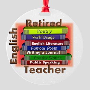 Retired English Teacher Book Stack Round Ornam