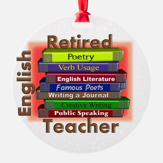 Retired English Teacher Book Stack.PNG Ornament