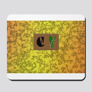 monogram E with lily of the valley Mousepad