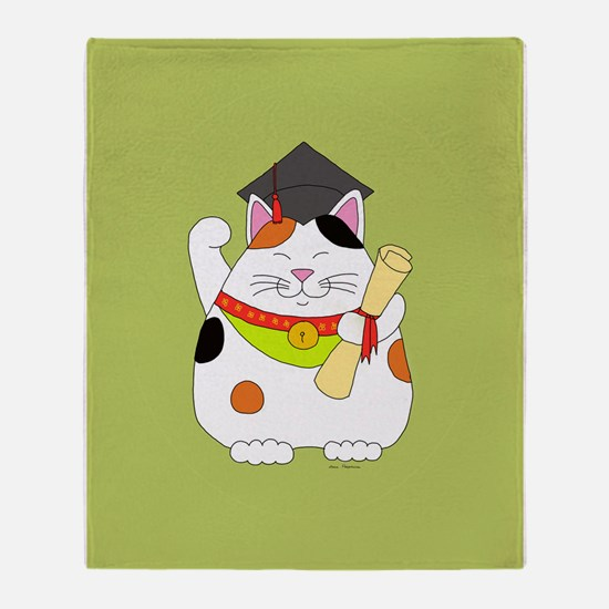 Graduation Maneki Neko Throw Blanket