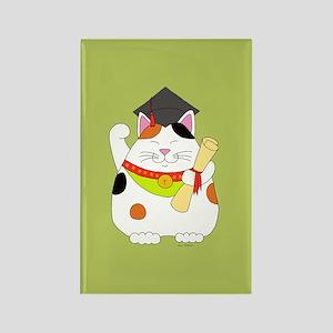 Graduation Maneki Neko Rectangle Magnet