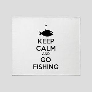 Keep calm and go fishing Throw Blanket