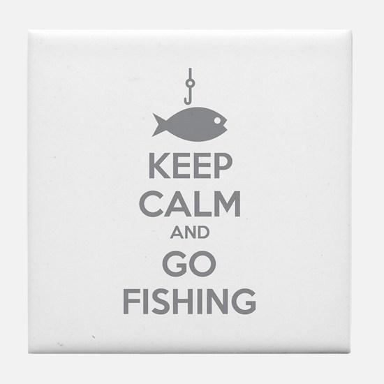 Keep calm and go fishing Tile Coaster