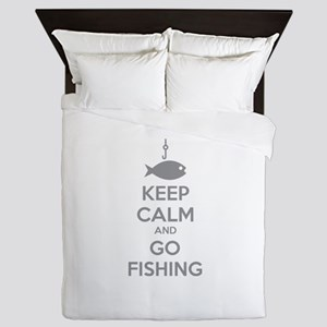 Keep calm and go fishing Queen Duvet