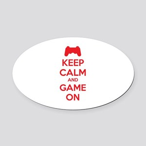 Keep calm and game on Oval Car Magnet