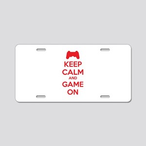 Keep calm and game on Aluminum License Plate