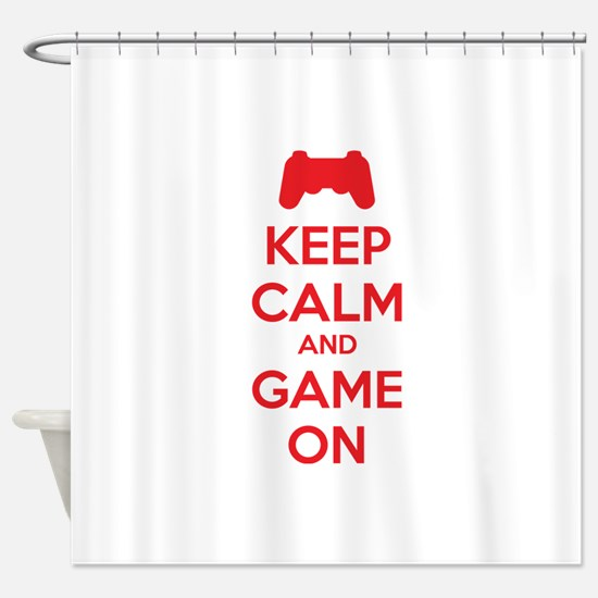 Keep calm and game on Shower Curtain