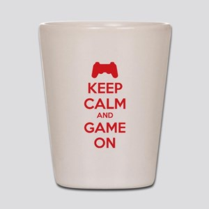 Keep calm and game on Shot Glass
