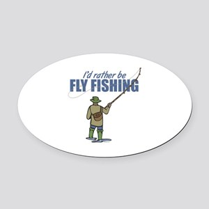 Fly Fishing Oval Car Magnet