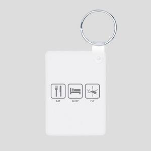 Eat Sleep Fly Aluminum Photo Keychain