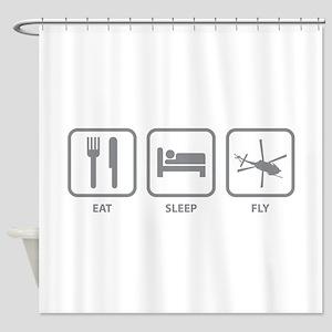 Eat Sleep Fly Shower Curtain