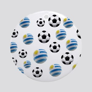 Uruguay Soccer Balls Ornament (Round)