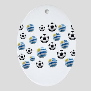 Uruguay Soccer Balls Ornament (Oval)