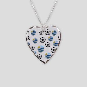 Uruguay Soccer Balls Necklace Heart Charm