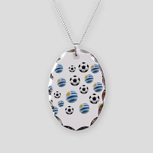 Uruguay Soccer Balls Necklace Oval Charm