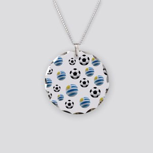 Uruguay Soccer Balls Necklace Circle Charm