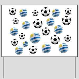Uruguay Soccer Balls Yard Sign