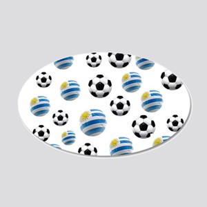 Uruguay Soccer Balls 20x12 Oval Wall Decal