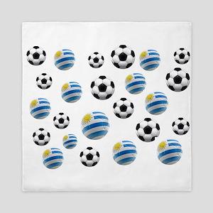 Uruguay Soccer Balls Queen Duvet