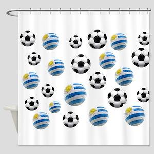 Uruguay Soccer Balls Shower Curtain
