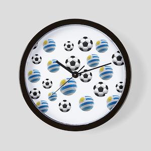 Uruguay Soccer Balls Wall Clock