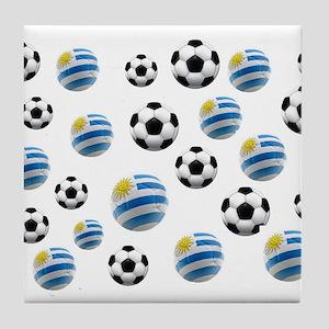 Uruguay Soccer Balls Tile Coaster
