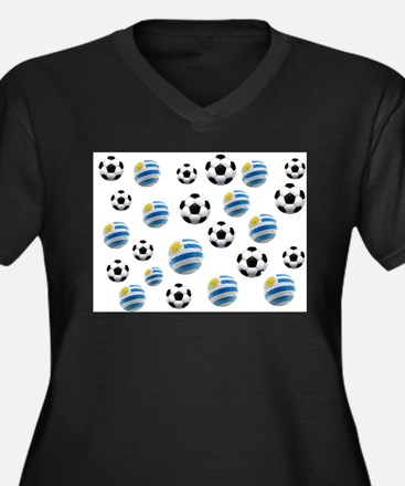 Uruguay Soccer Balls Women's Plus Size V-Neck Dark