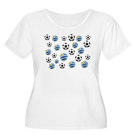 Uruguay Soccer Balls Women's Plus Size Scoop Neck