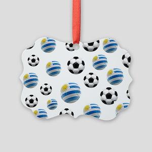 Uruguay Soccer Balls Picture Ornament