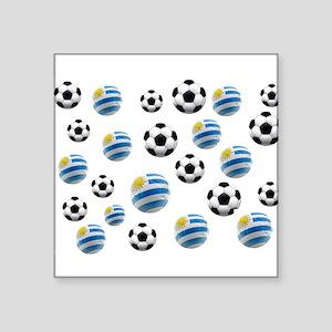 """Uruguay Soccer Balls Square Sticker 3"""" x 3"""""""
