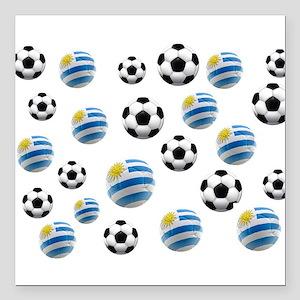 "Uruguay Soccer Balls Square Car Magnet 3"" x 3"""