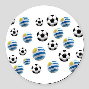 Uruguay Soccer Balls Round Car Magnet