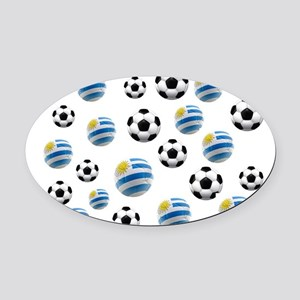 Uruguay Soccer Balls Oval Car Magnet
