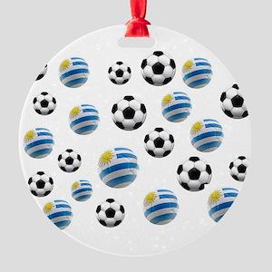 Uruguay Soccer Balls Round Ornament