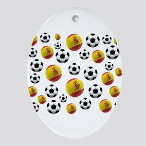 Spain Soccer Balls Ornament (Oval)