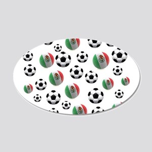 Mexican soccer balls 20x12 Oval Wall Decal