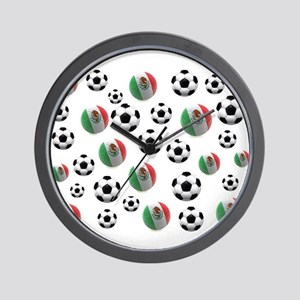 Mexican soccer balls Wall Clock