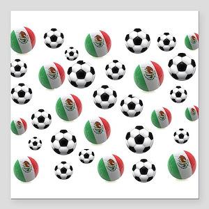 "Mexican soccer balls Square Car Magnet 3"" x 3"""