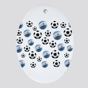 Argentina world cup soccer balls Ornament (Oval)