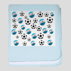 Argentina world cup soccer balls baby blanket