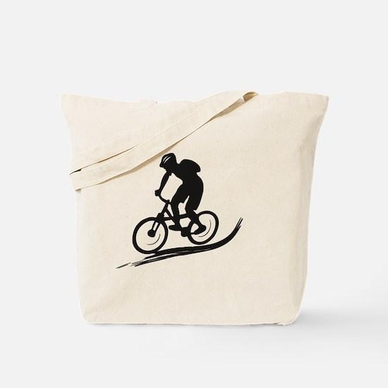 biker mtb mountain bike cycle downhill Tote Bag