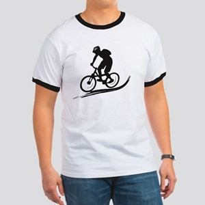 biker mtb mountain bike cycle downhill Ringer T
