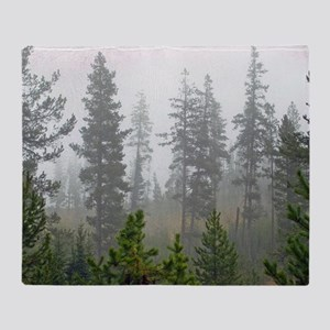 Misty forest Throw Blanket